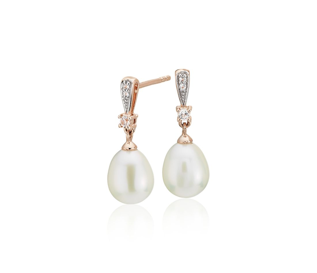 Freshwater Cultured Pearl and White Topaz Drop Earrings in 14k Rose Gold (7mm)
