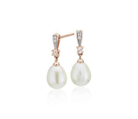 Freshwater Cultured Pearl and White Topaz Earrings in 14k Rose Gold (7mm)