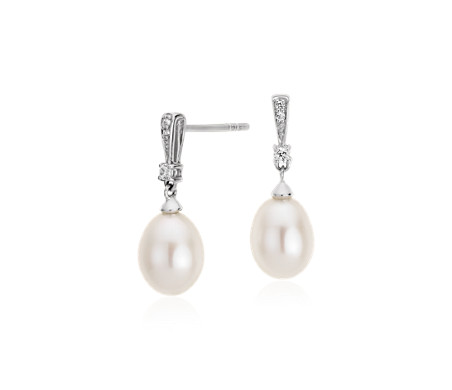 Freshwater Cultured Pearl and White Topaz Drop Earrings in Sterling Silver (7mm)