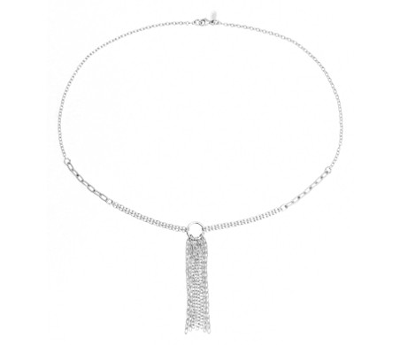 Fringe Chain Link Necklace in Sterling Silver