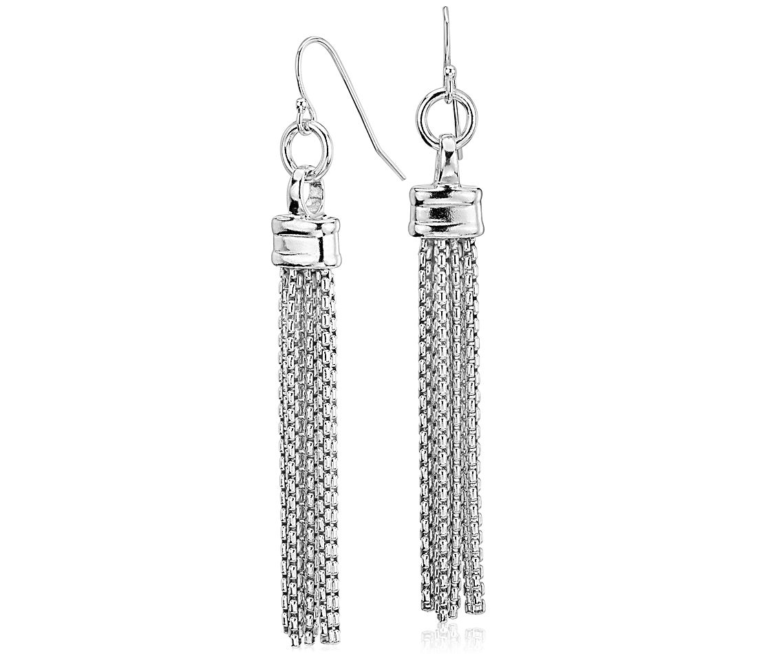 Fringe Chandelier Box Chain Drop Earrings In Sterling Silver