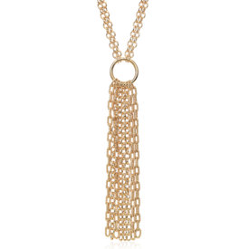 Collar con colgante estilo flecos en plata bañada en oro amarillo de 18k