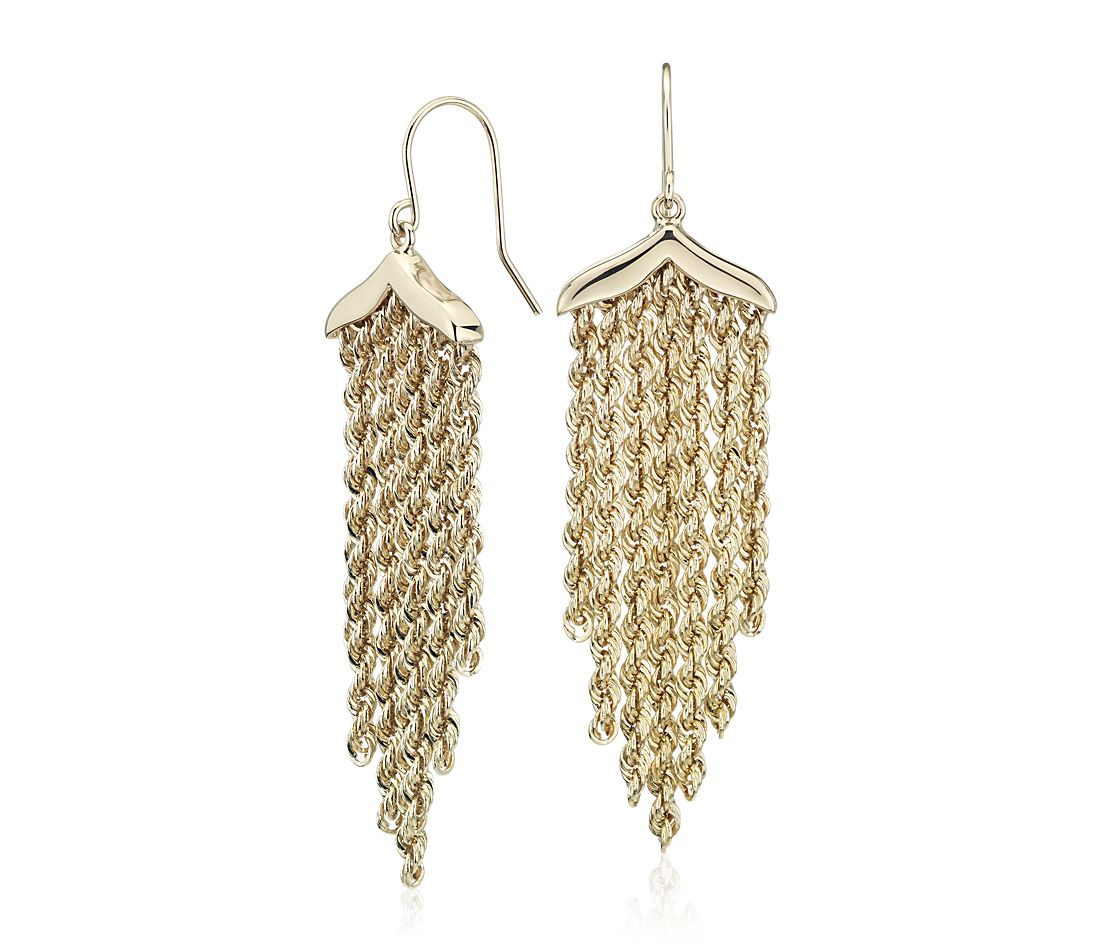 Fringe Rope Chandelier Drop Earrings in 14k Yellow Gold