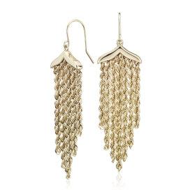 NOUVEAU Pendants d'oreilles pendeloques corde frange en or jaune 14carats