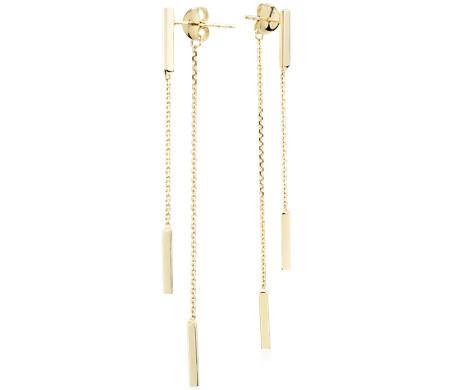 Front-Back Double Bar Drop Earrings