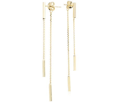 Front-Back Double Bar Drop Earrings