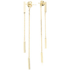 Front-Back Double Bar Drop Earrings in 14k Yellow Gold