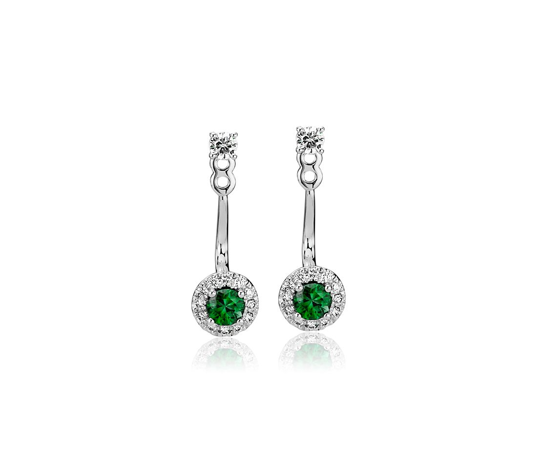 Front-Back Emerald and Diamond Earrings in 14k White Gold (3.5mm)