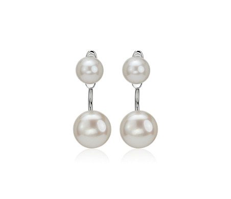 Front-Back Freshwater Cultured Pearl Earrings in Sterling Silver