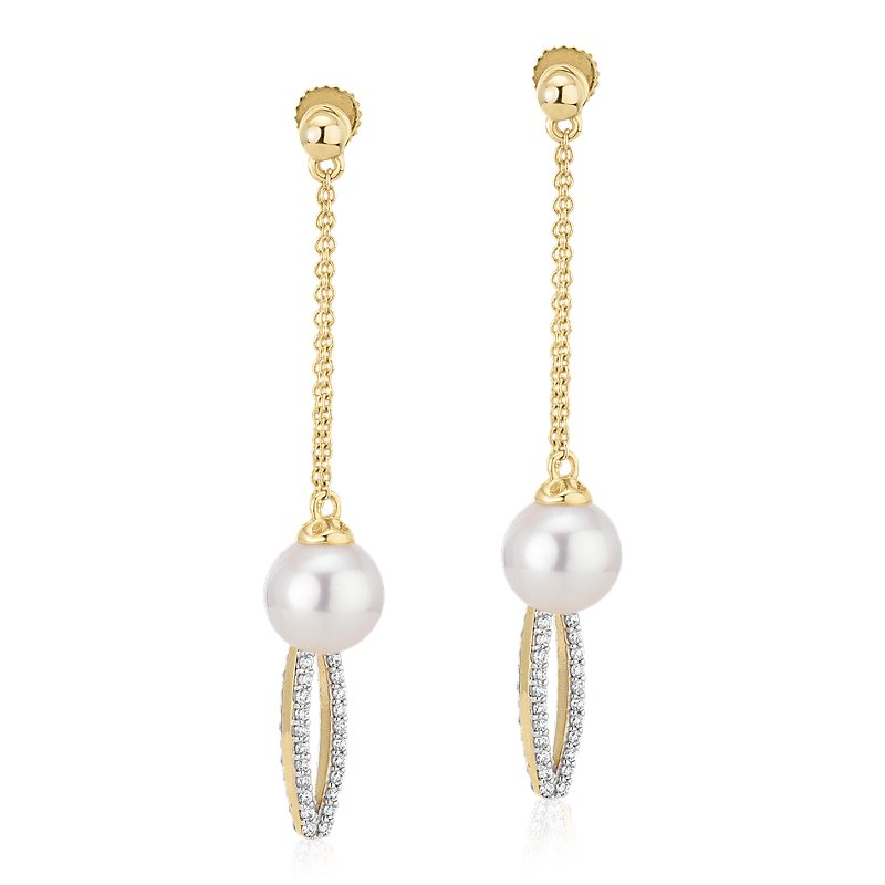 Front-Back Freshwater Cultured Pearl and Diamond Drop Earrings in