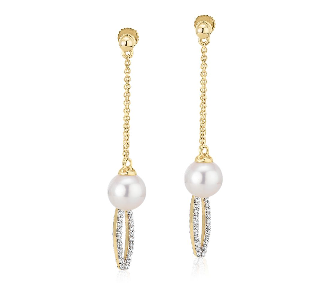 Front-Back Freshwater Cultured Pearl and Diamond Drop Earrings in 14k Yellow Gold (7.5-8mm)