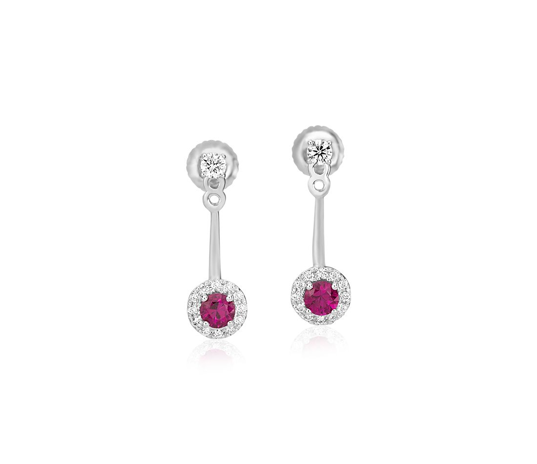 Front-Back Ruby and Diamond Earrings in 14k White Gold (3.5mm)