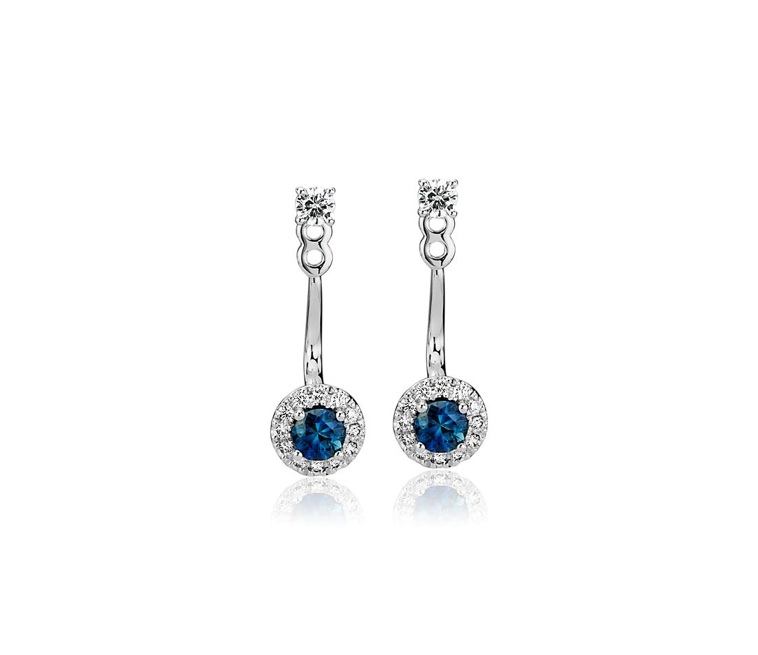 Front-Back Sapphire and Diamond Earrings in 14k White Gold (3.5mm)