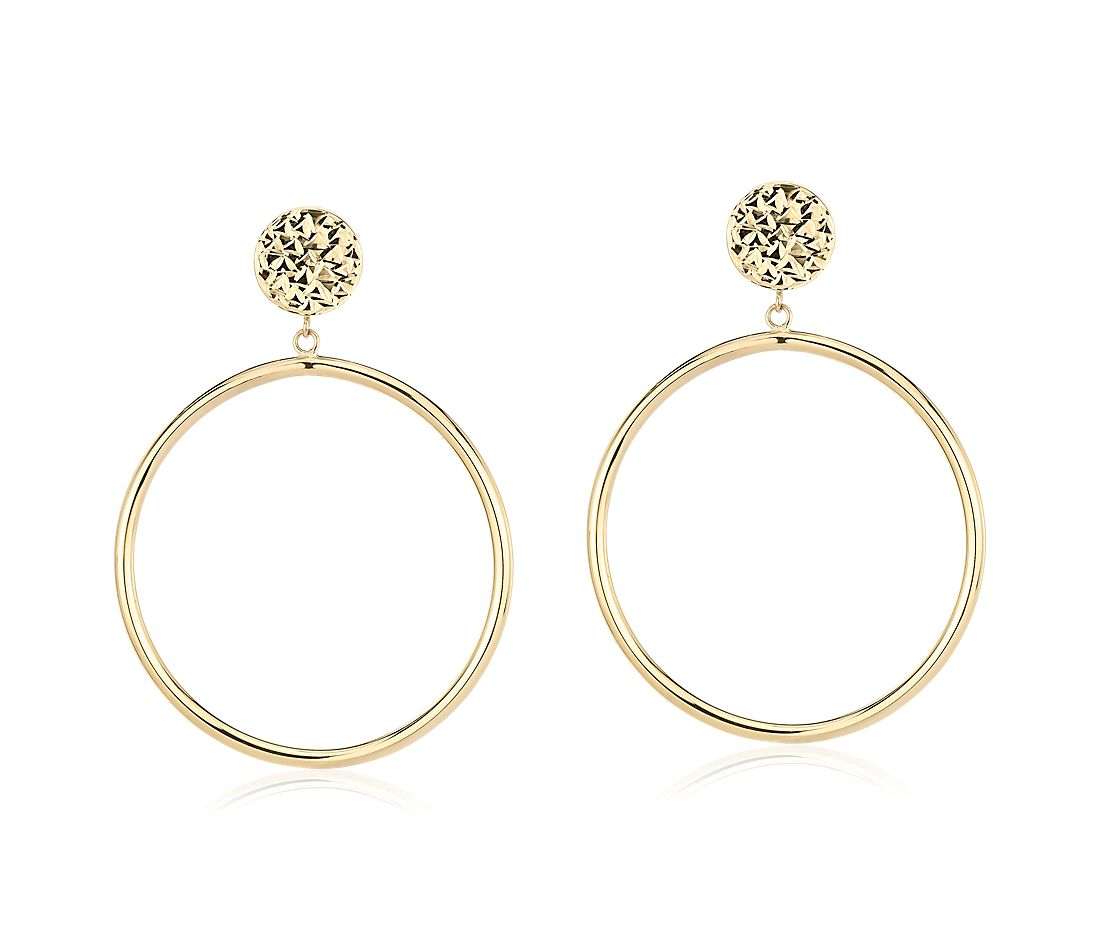 "Front Facing Hoop Earrings with Textured Stud in 14k Yellow Gold (1 1/2"")"