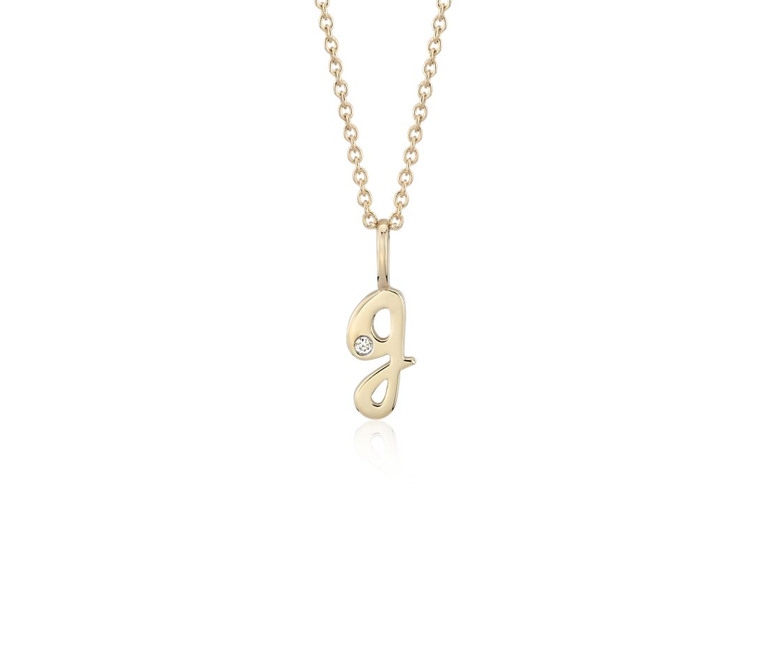 """G"" Mini Initial Pendant with Diamond Detail in 14k Yellow Gold"
