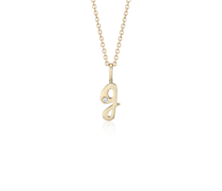 """G"" Mini Initial Diamond Pendant in 14k Yellow Gold"