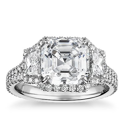 The Gallery Collection Vintage Asscher Halo Trapezoid Diamond Engagement Ring in Platinum