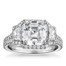 The Gallery Collection™ Vintage Asscher Halo Trapezoid Diamond Engagement Ring in Platinum (1 1/10 ct. tw.)