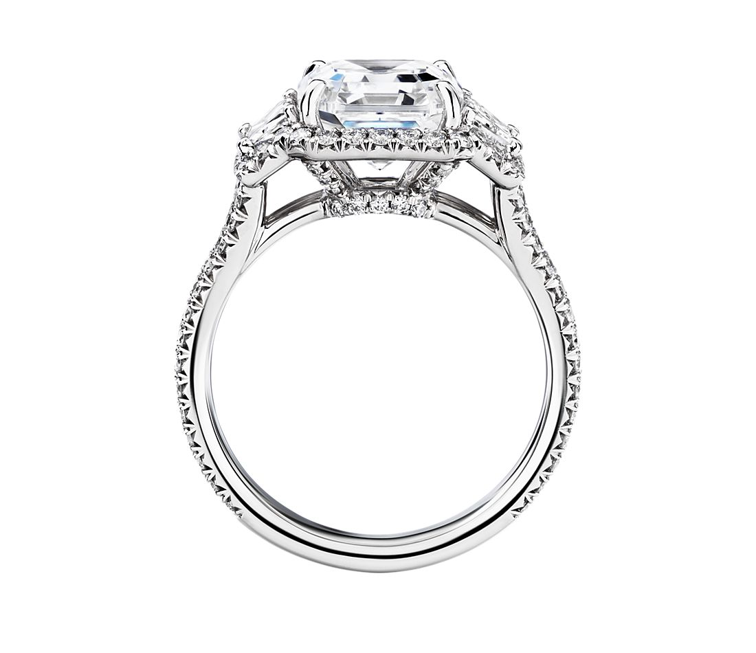 The Gallery Collection Vintage Asscher Halo Trapezoid