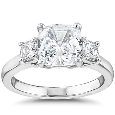 The Gallery Collection Cushion-Cut Three-Stone Diamond Engagement Ring in Platinum