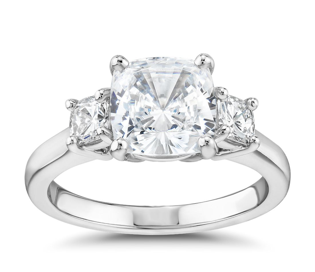 43e6cc94d0360 The Gallery Collection™ Cushion-Cut Three-Stone Diamond Engagement Ring in  Platinum (3/8 ct. tw.) | Blue Nile