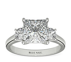The Gallery Collection™ Cushion-Cut Three-Stone Diamond Engagement Ring in Platinum  (3/8 ct. tw.)
