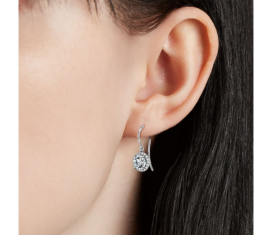 The Gallery Collection™ Diamond Halo French Pavé Drop Earring Setting in Platinum