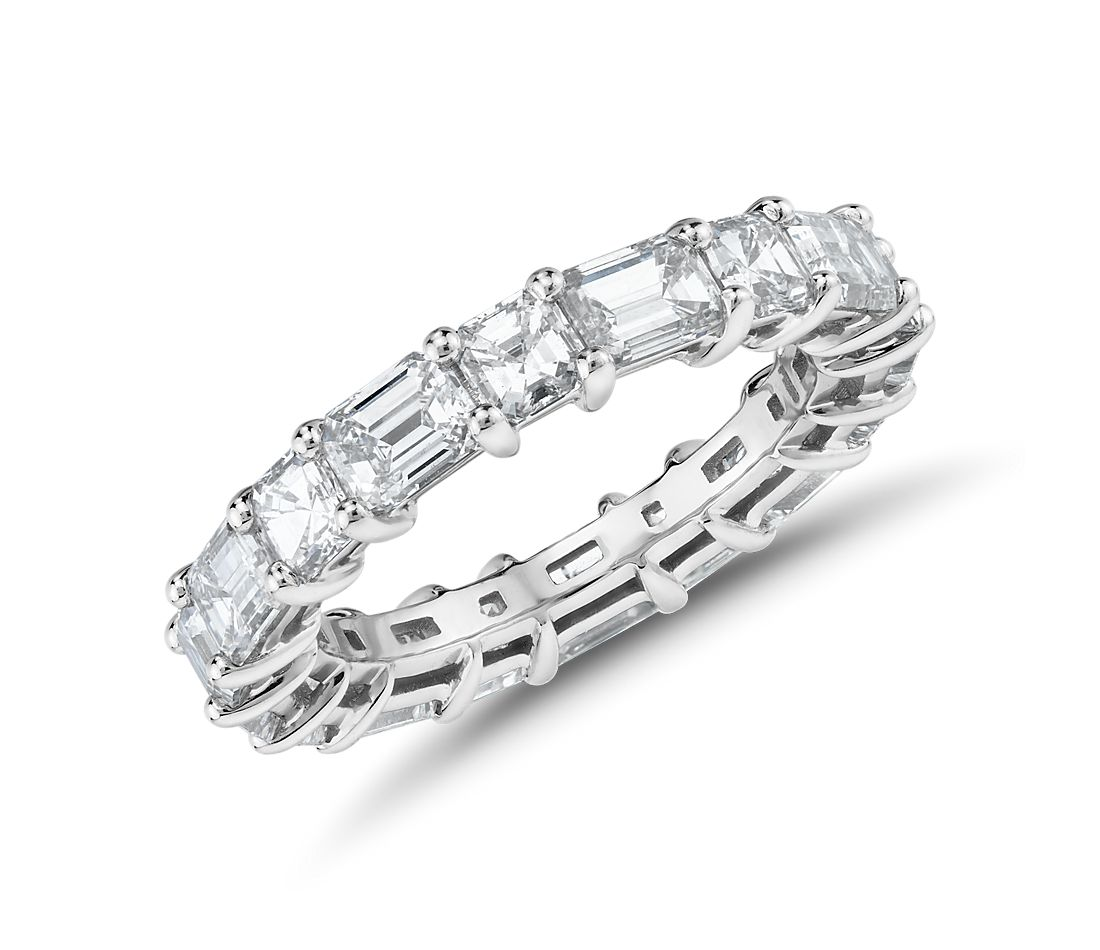 The Gallery Collection Emerald-Cut and Asscher-Cut Diamond Eternity Ring in Platinum (4 ct. tw.)