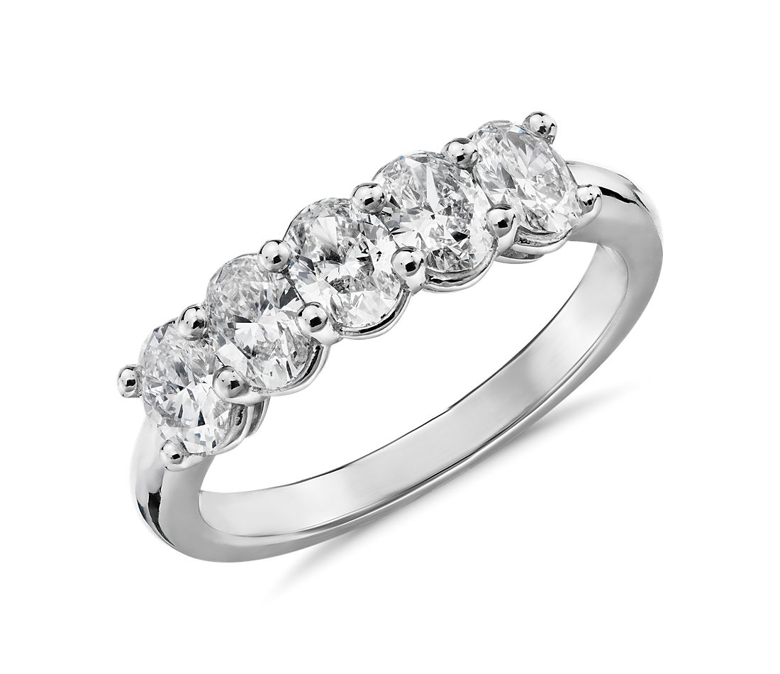 The Gallery Collection Five-Stone Oval-Cut Diamond Ring in Platinum (1 ct. tw.)