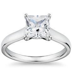 The Gallery Collection Flat Solitaire Diamond Engagement Ring in Platinum