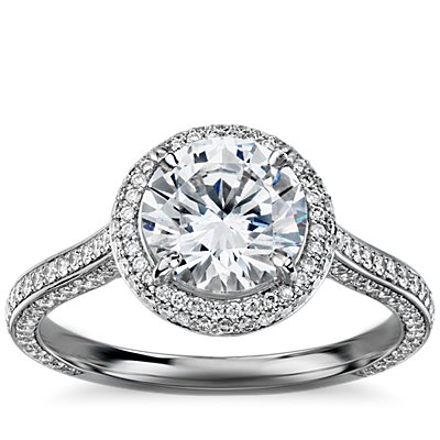 The Gallery Collection Halo Diamond Engagement Ring in Platinum
