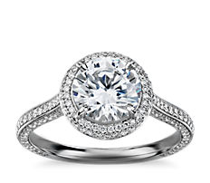 The Gallery Collection™ Halo Diamond Engagement Ring in Platinum (1/2 ct. tw.)