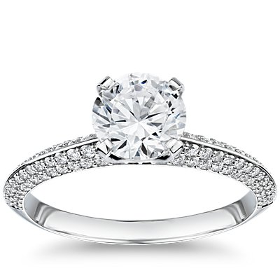 The Gallery Collection Knife Edge Micropave Diamond Engagement Ring in Platinum
