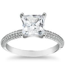 鉑金The Gallery Collection™ 刀鋒型微密鑲鑽石訂婚戒指(3/8 克拉總重量)