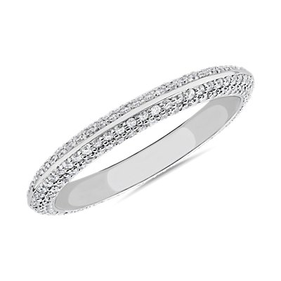 The Gallery Collection™ Knife Edge Micropave Diamond Eternity Ring in Platinum (3/4 ct. tw.)