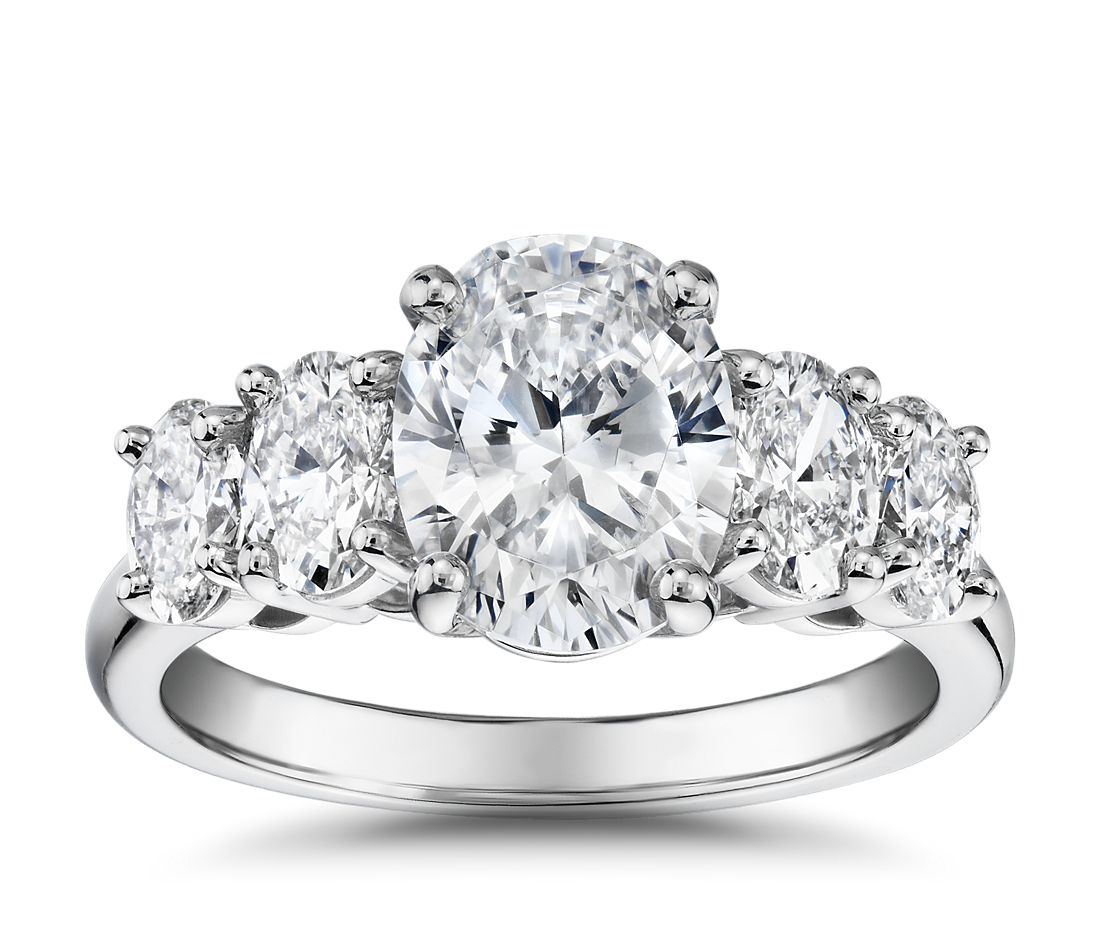 The Gallery Collection Graduated Oval-Cut Diamond Engagement Ring in Platinum