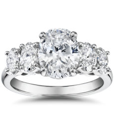 The Gallery Collection™ Graduated Oval-Cut Diamond Engagement Ring in Platinum (5/8 ct. tw.)