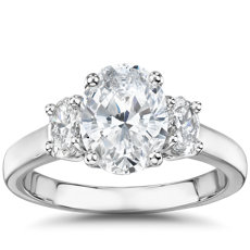 The Gallery Collection Oval-Cut Three-Stone Diamond Engagement Ring in Platinum