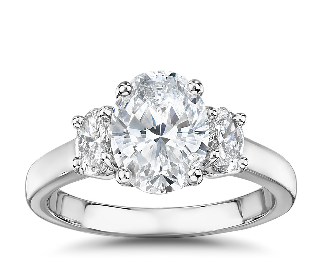 The Gallery Collection Oval Cut Three Stone Diamond Engagement Ring In Platinum 3 8 Ct Tw