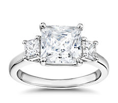 The Gallery Collection™ Princess-Cut Three-Stone Diamond Engagement Ring in Platinum (3/8 ct. tw.)