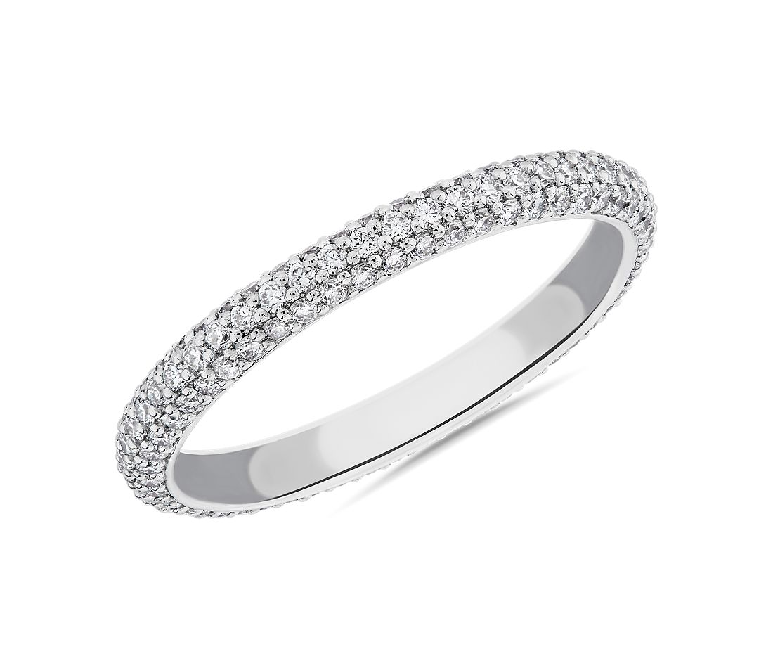 The Gallery Collection Rolled Pave Diamond Eternity Ring in Platinum