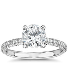The Gallery Collection Rolled Micropave Diamond Engagement Ring in Platinum