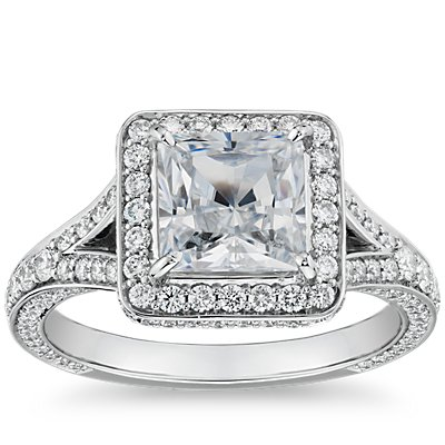 The Gallery Collection™ Square Split Shank Halo Diamond Engagement Ring in Platinum (9/10 ct. tw.)