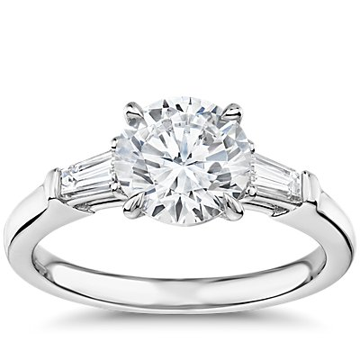 The Gallery Collection Tapered Baguette Diamond Engagement Ring in Platinum
