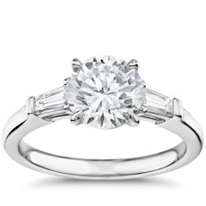 The Gallery Collection™ Tapered Baguette Diamond Engagement Ring in Platinum (1/3 ct. tw.)
