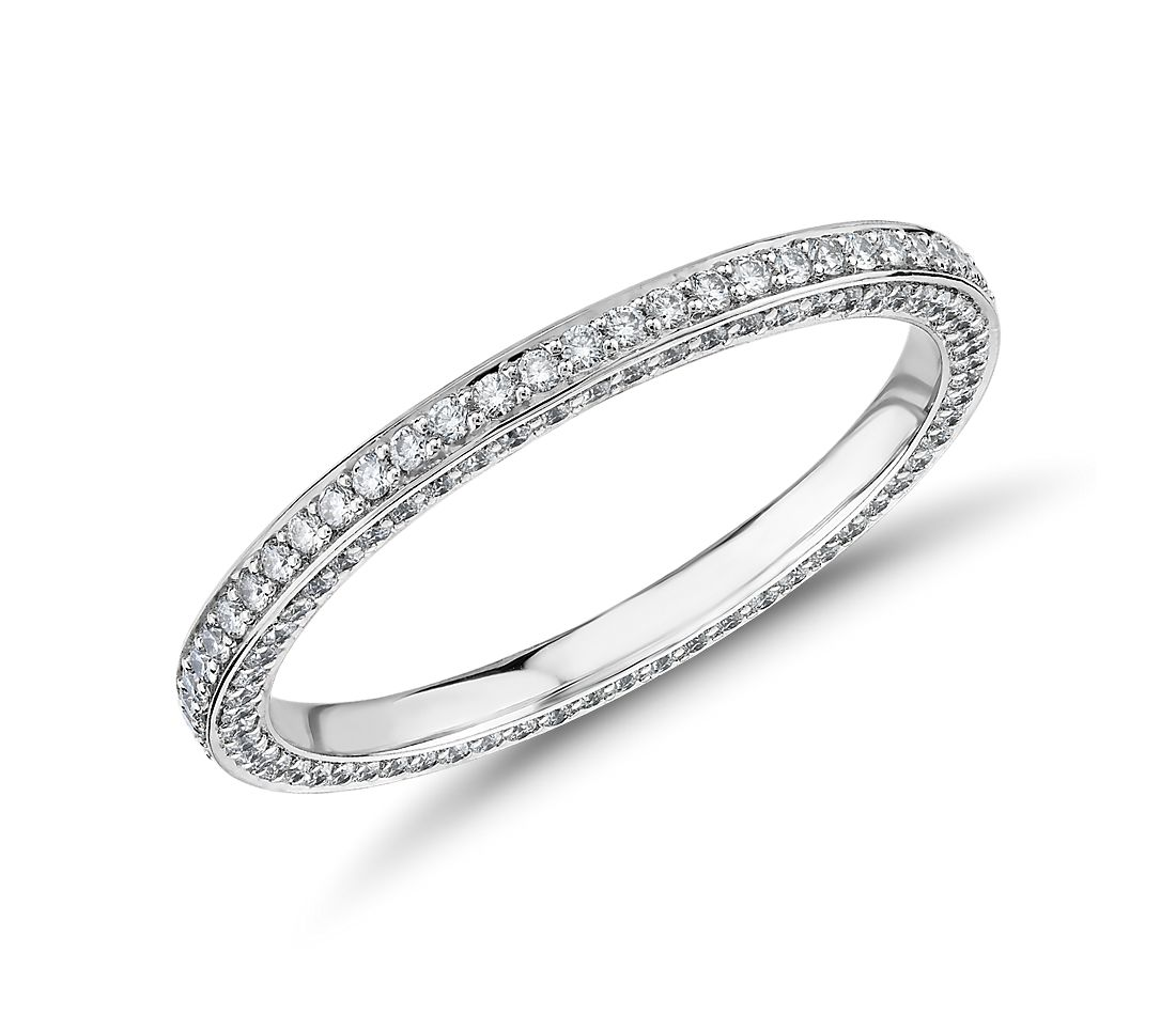 The Gallery Collection™ Trio Micropave Diamond Eternity Ring in Platinum (5/8 ct. tw.)