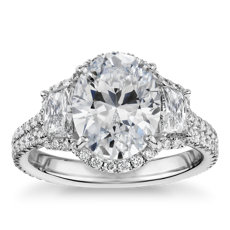 The Gallery Collection™ Vintage Oval Halo Trapezoid Diamond Engagement Ring in Platinum (1 1/10 ct. tw.)