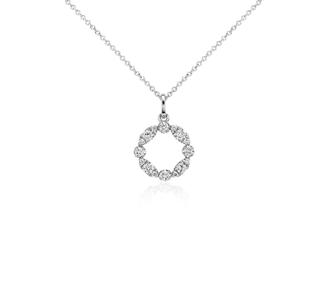 Garland Circle Diamond Pendant in 14k White Gold