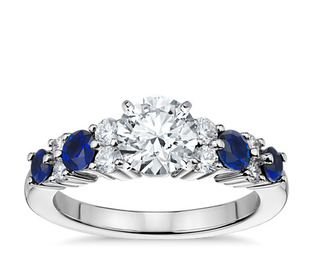 seven bands saffire stone ktkleja wedding platinum diamond in chic sapphire engagement ring luna promise rings and