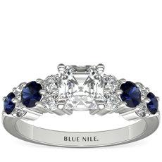 铂金光环蓝宝石与钻石订婚戒指